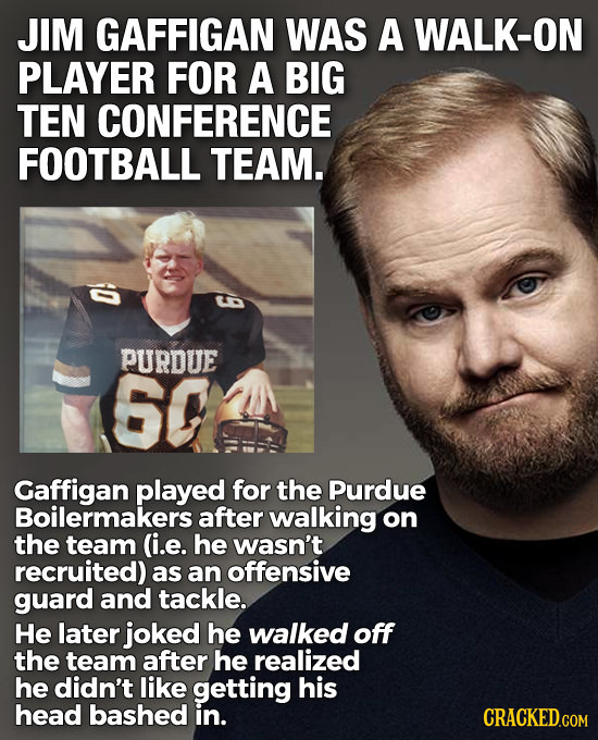 JIM GAFFIGAN WAS A WALK-ON PLAYER FOR A BIG TEN CONFERENCE FOOTBALL TEAM. PURDUE 60 Gaffigan played for the Purdue Boilermakers after walking on the t
