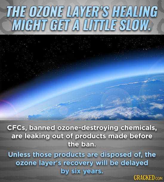 THE OZONE LAYER'S HEALING MIGHT GET A LITTLE SLOW. CFCs, banned ozone-destroying chemicals, are leaking out of products made before the ban. Unless th