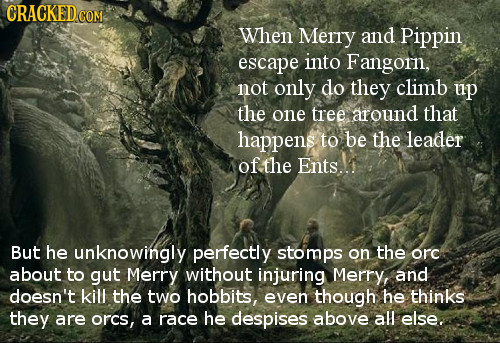 CRACKEDCON When Merry and Pippin escape into Fangorn, not only do they climb up the one tree around that happens to be the leader of the Ents..1 But h