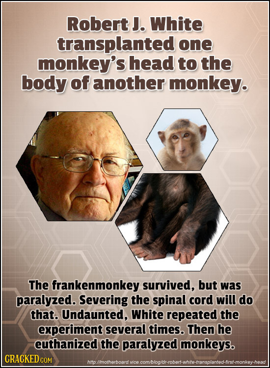 Robert J. White transplanted one monkey's head to the body of another monkey. The frankenmonkey survived, but was paralyzed. Severing the spinal cord