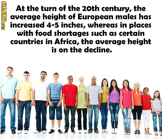 GRAGR At the turn of the 20th century, the average height of European males has increased 4-5 inches, whereas in places with food shortages such as ce