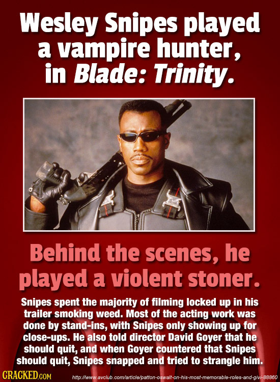 Wesley Snipes played a vampire hunter, in Blade: Trinity. Behind the scenes, he played a violent stoner. Snipes spent the majority of filming locked u