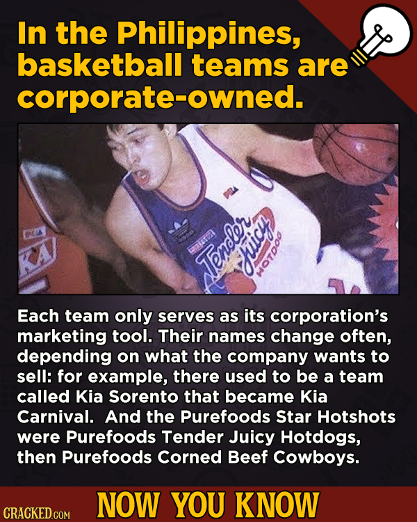 Now You Know! 13 Facts About Movies And General Trivia To Un-Bore You - In the Philippines, basketball teams are corporate-owned.