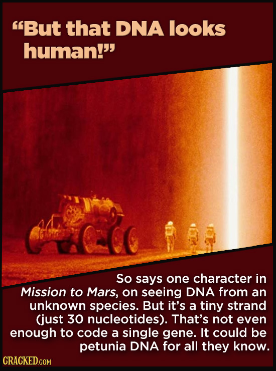 21 Details That Movies And TV Shows Got Exactly Wrong - So says one character in Mission to Mars, on seeing DNA from an unknown species. But it's a ti