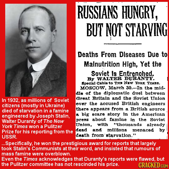 RUSSIANS HUNGRY, BUT NOT STARVING Deaths From Diseases Due to Malnutrition High, Yet the Soviet Is Entrenched. By WALTER DURANTY. Specfal Cable to Tha