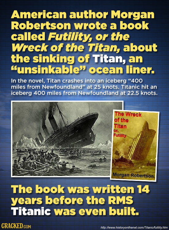 American author Morgan Robertson wrote a book called Futility or the Wreck of the Titan, about the sinking of Titan, an unsinkable ocean liner. In t