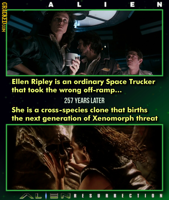 A L E N Ellen Ripley is an ordinary Space Trucker that took the wrong off-ramp... 257 YEARS LATER She is a cross-species clone that births the next ge