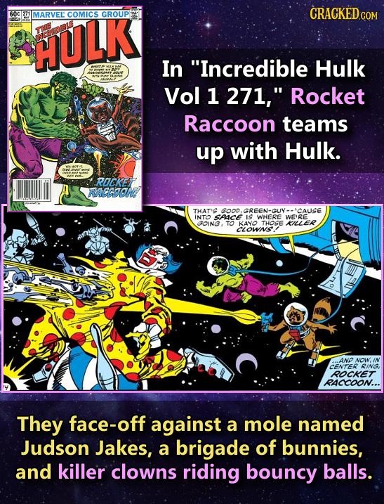 CRACKED.COM 60c 271 MARVEL COMICS GROUP HULK OREDL In Incredible Hulk Vol 1 271, Rocket Raccoon teams up with Hulk. ROCKET RAGGOONA THAT'S GOODGREEN