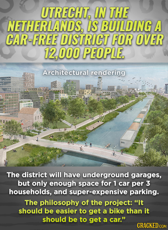 UTRECHT, IN THE NETHERLANDS, IS BUILDING A CAR-FREE DISTRICT FOR OVER 12, 000 PEOPLE. Architectural rendering The district will have underground garag