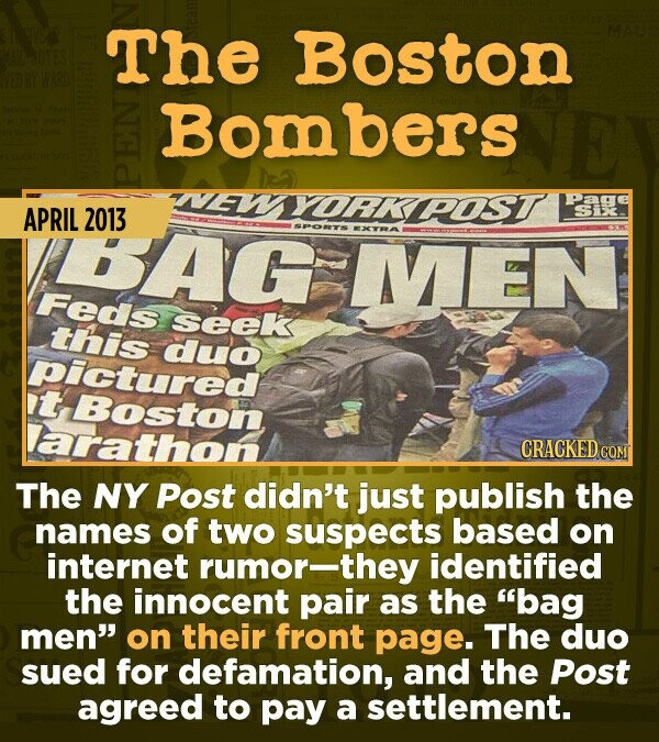 15 Of The Most Shameful Cases Of False Reporting From The Media - The NY Post didn't just publish the names of two mistaken suspects of the 2013 bombi