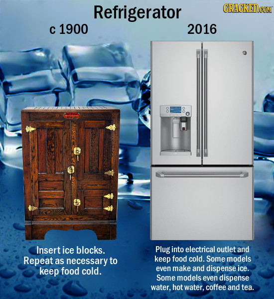 Refrigerator CRACKEDCO C 1900 2016 00 00 Insert ice blocks. Plug into electrical outlet and Repeat as necessary to keep food cold. Some models keep fo