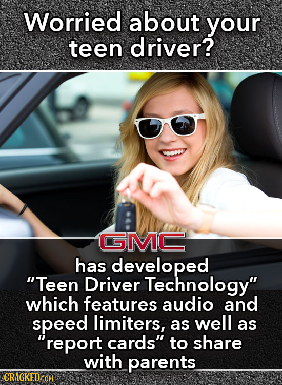 Worried about your teen driver? SMC has developed Teen Driver Technology which features audio and speed limiters, well as as report cards to share