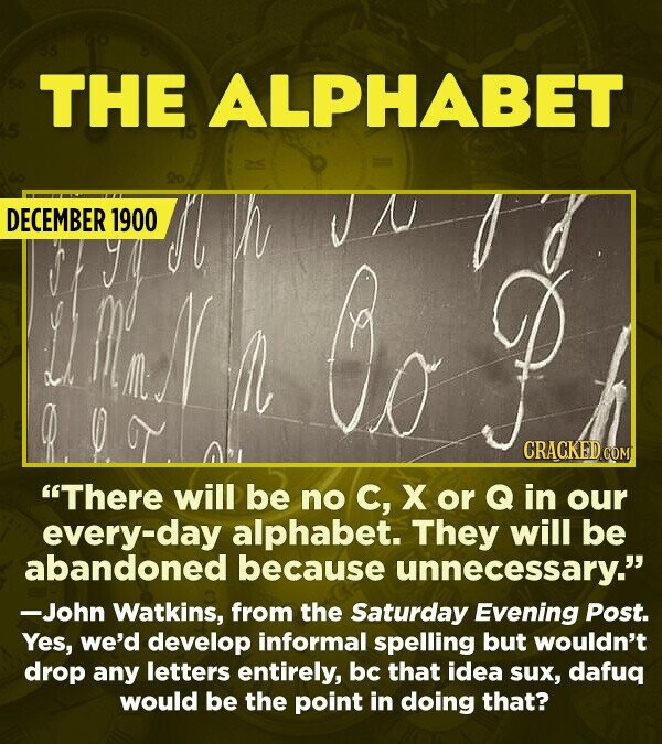 "15 Really Inaccurate Predictions About The Future - ""There will be No C, X or Q in our every-day alphabet. They will be abandoned because unnecessary."