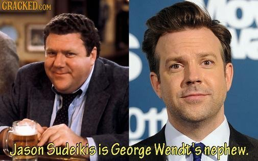 CRACKEDco COM Jason Sudeikis is George Wendt's nephew.