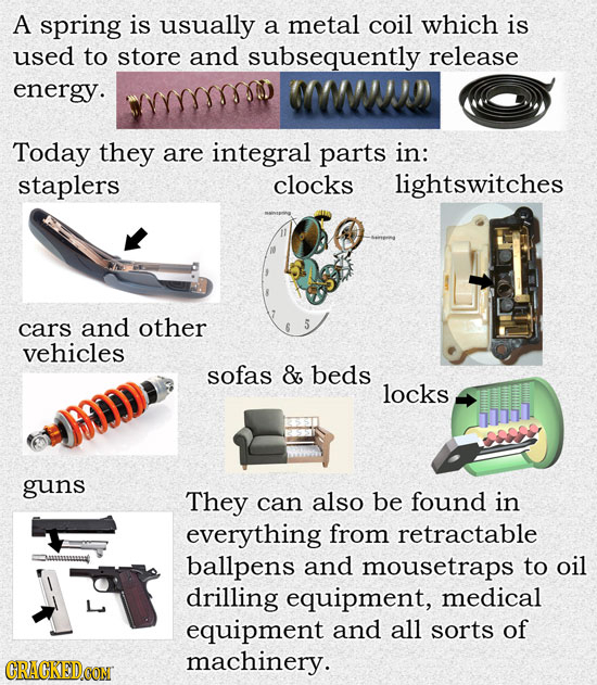 A spring is usually a metal coil which is used to store and subsequently release energy. WW'I Today they are integral parts in: staplers clocks lights