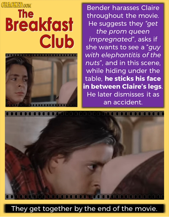 CRAGKEDAON Bender harasses Claire The throughout the movie. Breakfast He suggests they get the Club prom queen impregnated, asks if she wants to see
