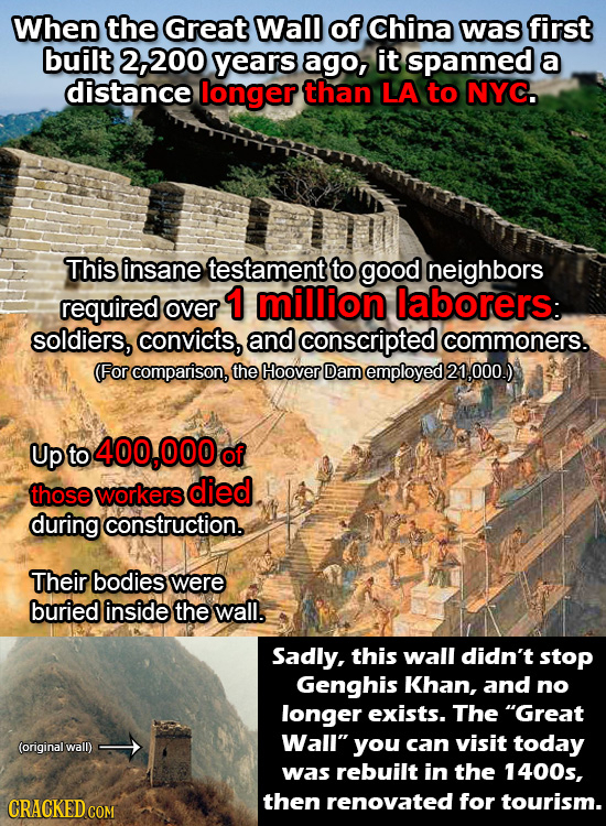 When the Great Wall of China was first built 200 years ago, it spanned a distance longer than LA to NYC. This insane testament to good neighbors requi