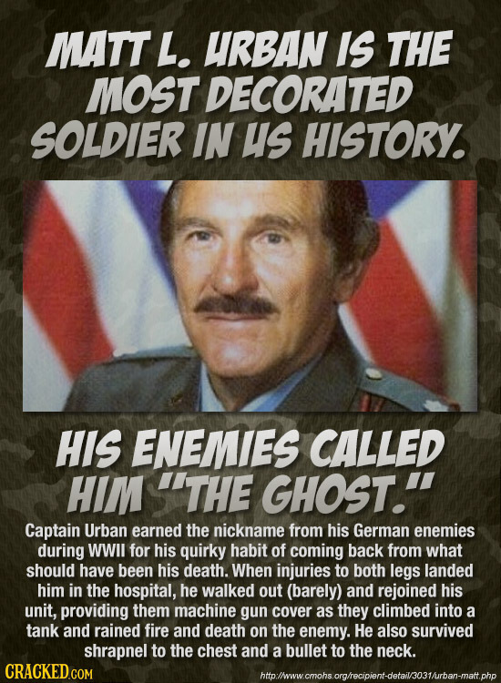 MATT L. URBAN IS THE MOST DECORATED SOLDIER IN us HISTORY HIS ENEMIES CALLED HIM 'THE GHOST. Captain Urban earned the nickname from his German enemi