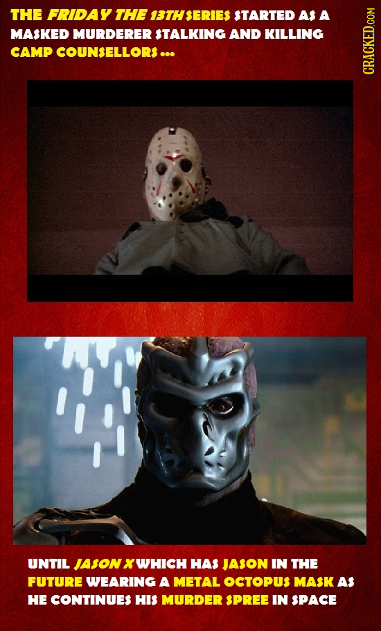 THE FRIDAY THE 13THSERIES STARTED AS A MASKED MURDERER STALKING AND KILLING CAMP COUNSELLORS ... CRAU UNTIL JASON X WHICH HAS JASON IN THE FUTURE WEAR