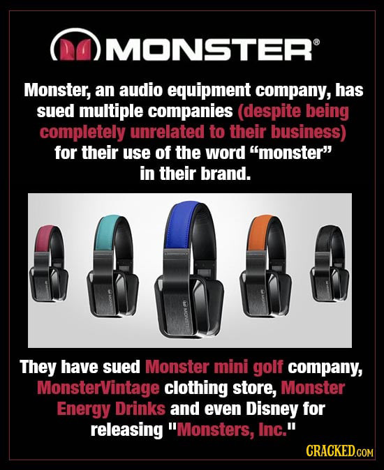 DOMONSTER Monster, an audio equipment company, has sued multiple companies (despite being completely unrelated to their business) for their use of the