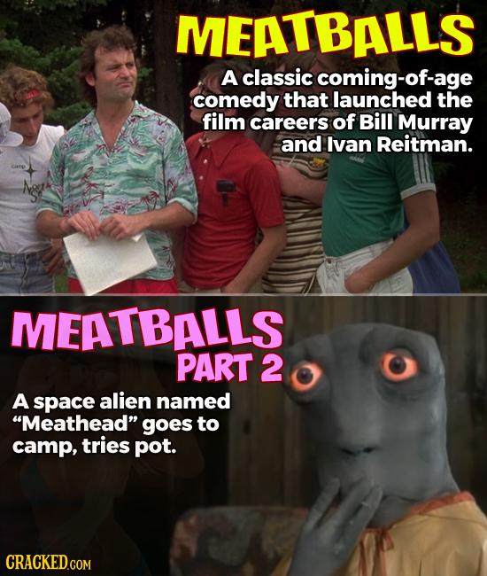 MEATBALLS A classic coming-of- comedy that launched the film careers of Bill Murray and Ivan Reitman. A MEATBALLS PART 2 A space alien named Meathead