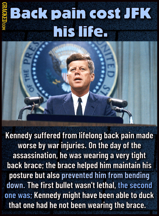 CRACKED.COM BacK pain cost JFK his life. NITED PRES THE S1 OF Kennedy suffered from lifelong back pain made worse by war injuries. On the dAY of the a