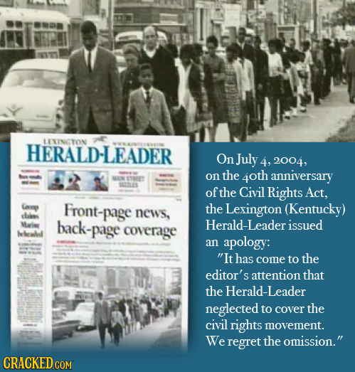 LEINCTON HERALD-LEADER On July 4, 2004, on the 4oth anniversary MAN STORT SSES of the Civil Rights Act, Cap Front-page the Lexington (Kentucky) chaies
