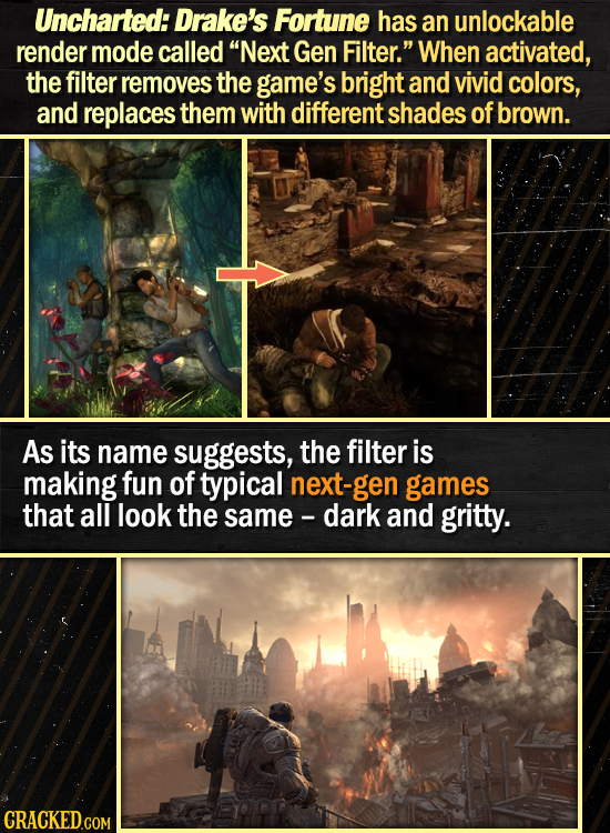 Uncharted: Drake's Fortune has an unlockable render mode called Next Gen Filter. When activated, the filter removes the game's bright and vivid colo