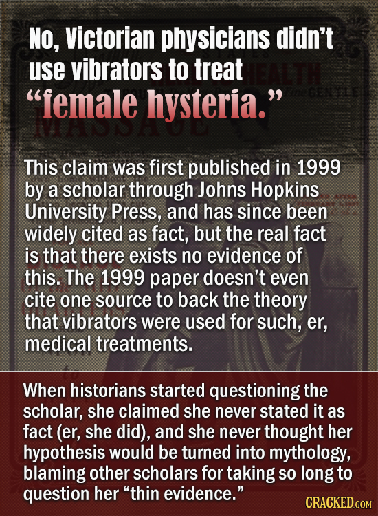 No, Victorian physicians didn't use vibrators to treat female hysteria. GE5E This claim was first published in 1999 by a scholar through Johns Hopki