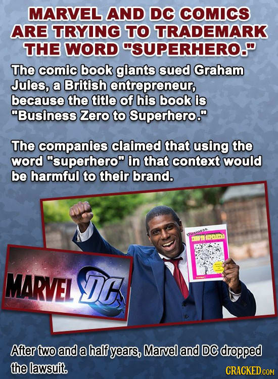 MARVEL AND DC COMICS ARE TRYING TO TRADEMARK THE WORD SUPERHERO. The comic book giants sued Graham Jules, a British entrepreneur, because the title