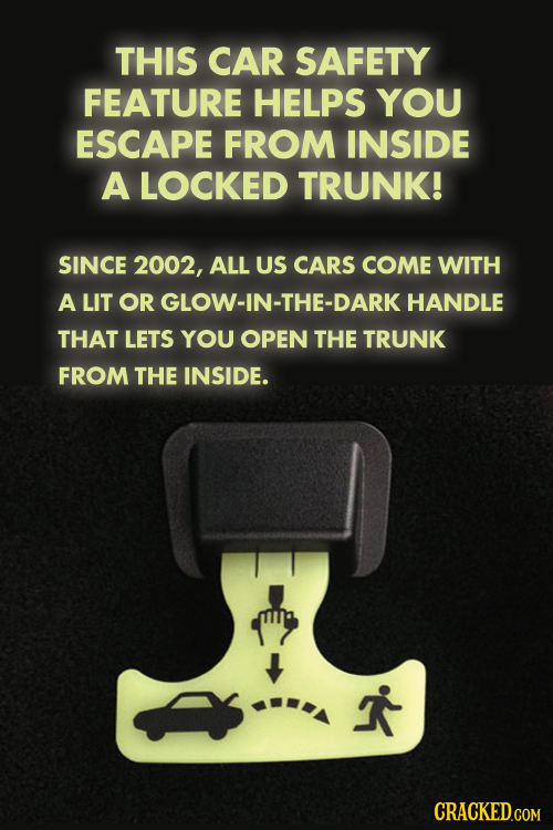 THIS CAR SAFETY FEATURE HELPS YOU ESCAPE FROM INSIDE A LOCKED TRUNK! SINCE 2002, ALL US CARS COME WITH A LIT OR GLOW-IN-THE-DARK HANDLE THAT LETS YOU