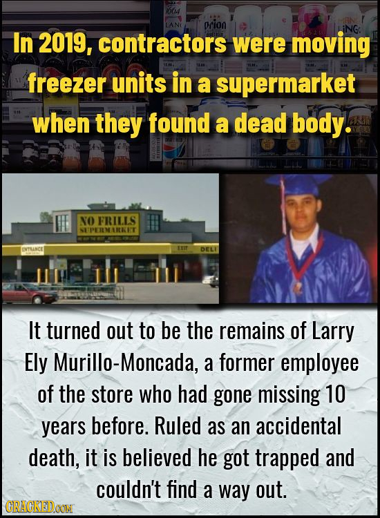 664 LANI prion iNGo In 2019, contractors were moving freezer units in a supermarket when they found a dead body. NO FRILLS NETPERLMARKIT NTLINCE EIT D