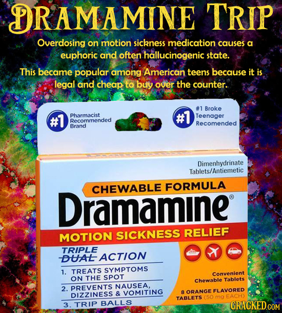 DRAMAMINE TRIP Overdosing on motion sickness medication causes a euphoric and often hallucinogenic state. This became popular among American teens bec