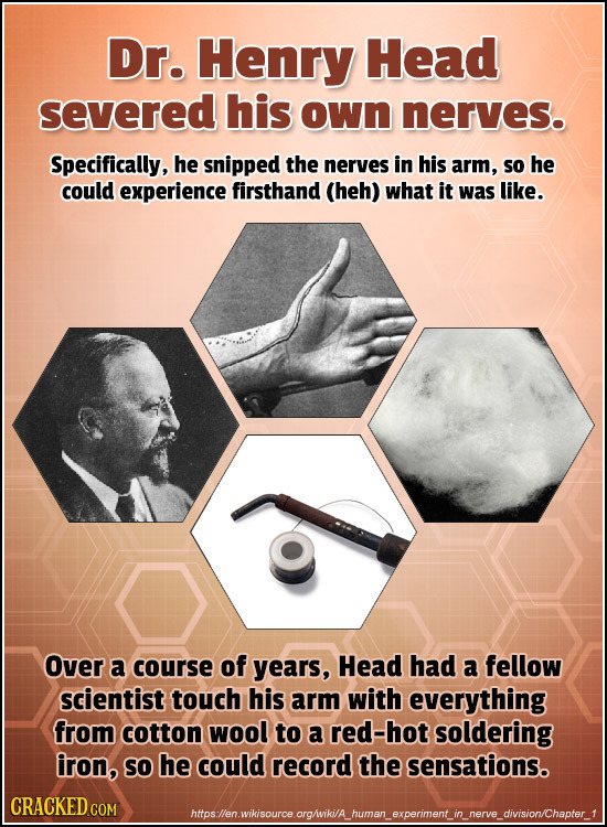 Dr. Henry Head severed his own nerves. Specifically, he snipped the nerves in his arm, so he could experience firsthand (heh) what it was like. Over a