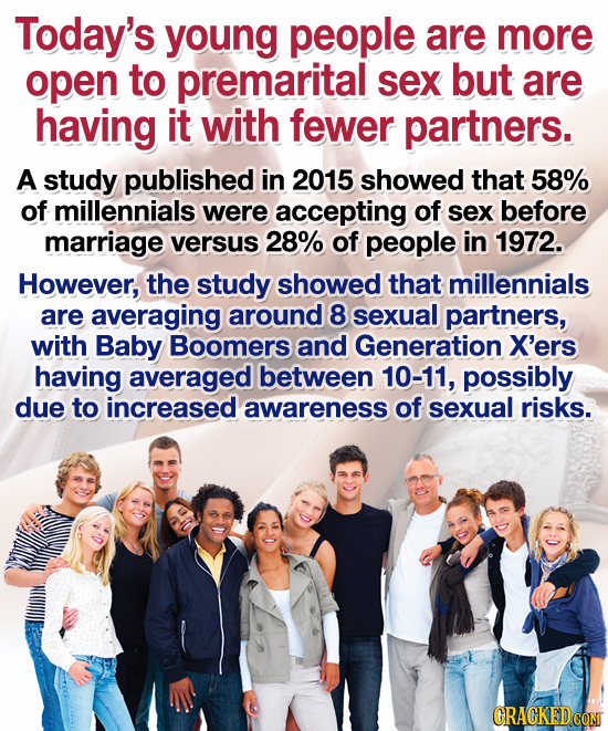Today's young people are more open to premarital sex but are having it with fewer partners. A study published in 2015 showed that 58% of millennials w