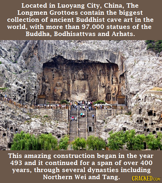 Located in Luoyang City, China, The Longmen Grottoes contain the biggest collection of ancient Buddhist cave art in the world, with more than 97.000 s