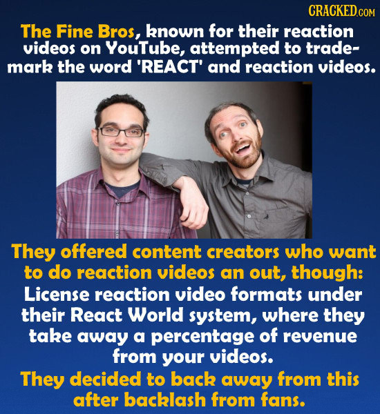 CRACKEDco The Fine Bros, known for their reaction videos on YouTube, attempted to trade- mark the word 'REACT' and reaction videos. They offered conte