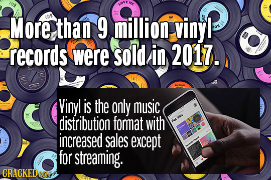 ill LOVENE More IIB than 9 million vinyl hr Do records were sold in 2017. Ml, Vinyl is the only music distribution format with You For increased sales