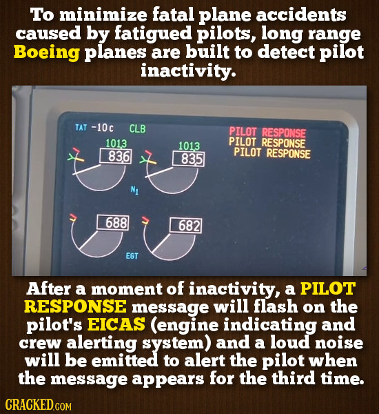 To minimize fatal plane accidents caused by fatigued pilots, long range Boeing planes are built to detect pilot inactivity. TAT -10c CLB PILOT RESPONS