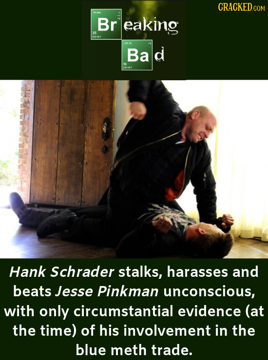 CRACKED Br eaking 35 4-18 17.33 Bae d 56 Hank Schrader stalks, harasses and beats Jesse Pinkman unconscious, with only circumstantial evidence (at the
