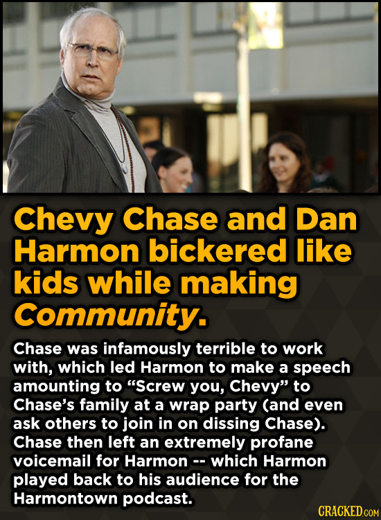 Ridiculous Behind-The-Scenes Stories From Your Favorite Movies And Shows - Chevy Chase and Dan Harmon bickered like kids while making Community.
