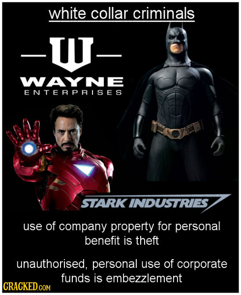 white collar criminals -WJ- WAYNE ENTERPRISES STARK INDUSTRIES use of company property for personal benefit is theft unauthorised, personal use of cor
