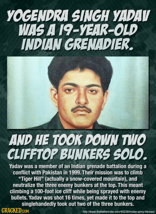 YOGENDRA SINGH YADAV WAS A19-YEAR-OLD INDIAN GRENADIER. AND HE TOOK DOWN TWO CLIFFTOP BUNKERS SOLO. Yadav was a member of an Indian grenade battalion