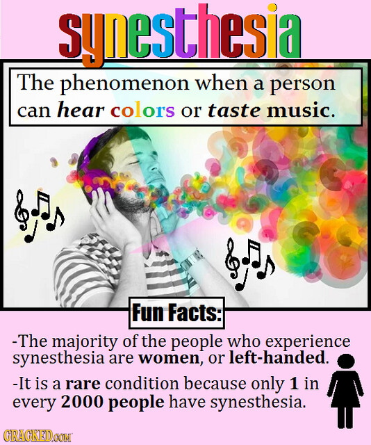 synesthesia The phenomenon when a person hear can colors or taste music. Fun Facts: - The majority of the people who experience synesthesia are women,