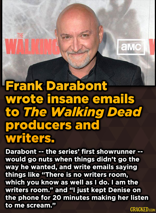 Ridiculous Behind-The-Scenes Stories From Your Favorite Movies And Shows - Frank Darabont wrote insane emails to The Walking Dead producers