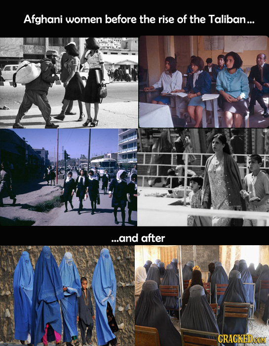 Afghani women before the rise of the Taliban... ...and after