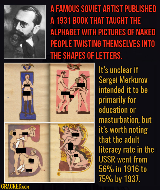 A FAMOUS SOVIET ARTIST PUBLISHED A 1931 BOOK THAT TAUGHT THE ALPHABET WITH PICTURES OF NAKED PEOPLE TWISTING THEMSELVES INTO THE SHAPES OF LETTERS. It