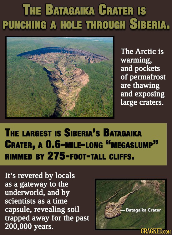THE BATAGAIKA CrATer IS PUNCHING A HOLE THROUGH SIBERIA. The Arctic is warming, and pockets of permafrost are thawing and exposing large craters. THE