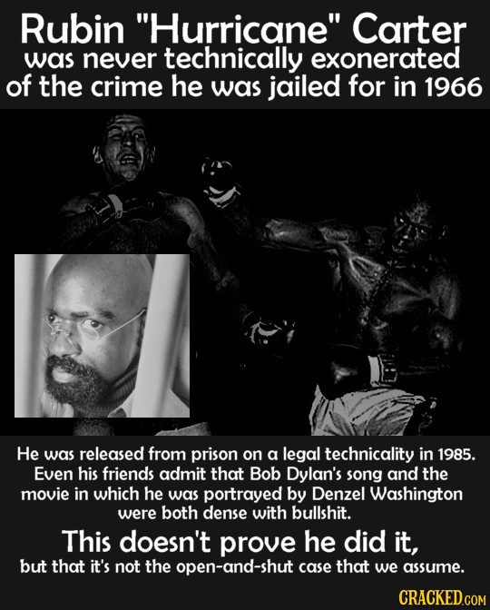 Rubin Hurricane Carter was never technically exonerated of the crime he was jailed for in 1966 He was released from prison on a legal technicality i