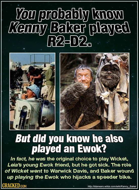 You probably know Kenny Baker played R2-D2. But did you know he also played an Ewok? In fact, he was the original choice to play Wicket, Leia's young